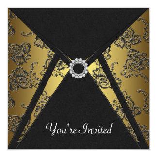 Black Damask Gold All Occasion Party Invitation