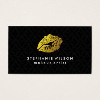 Black Damask Gold Lips Makeup Artist Business Card
