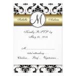 Black Damask Gold Wedding RSVP Invitation