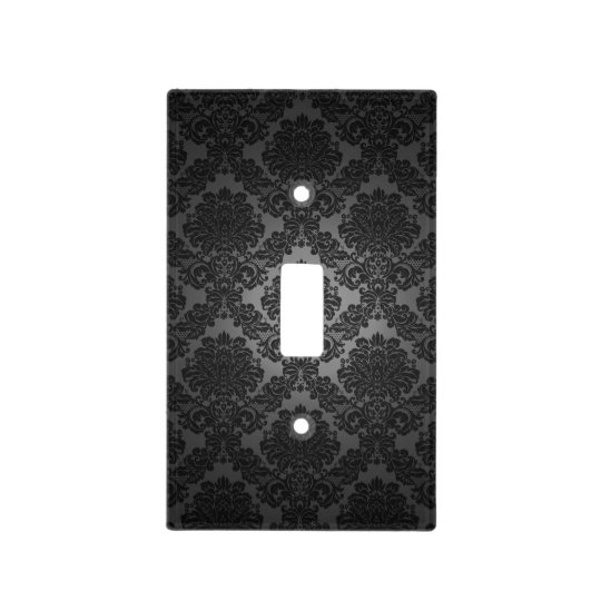 Black Damask Gradient Pattern Light Switch Cover