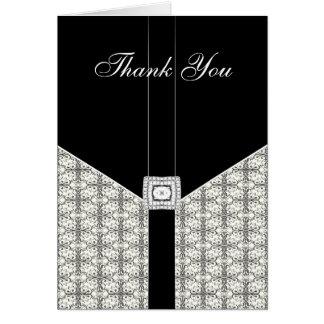 Black Damask Lace Diamond  Thank You Card