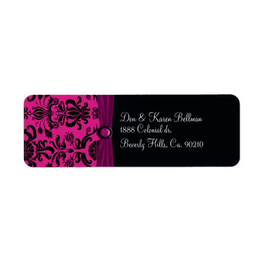 Black Damask, Magenta Return Address Label