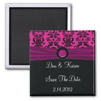 Black Damask, Magenta Save The Date Magnet