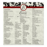 Black Damask Maroon Seating Chart Table Numbers