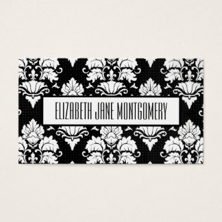 Black Damask Modern Appointment Business Card