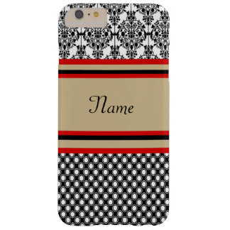 Black Damask Monogram Barely There iPhone 6 Plus Case