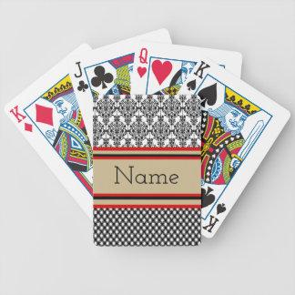 Black Damask Monogram Bicycle Playing Cards