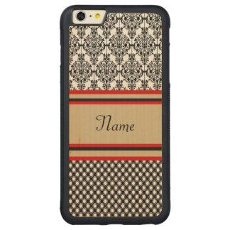 Black Damask Monogram Carved Maple iPhone 6 Plus Bumper Case