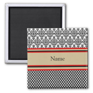 Black Damask Monogram Magnet