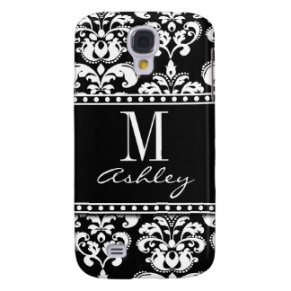 Black Damask Monogram Name