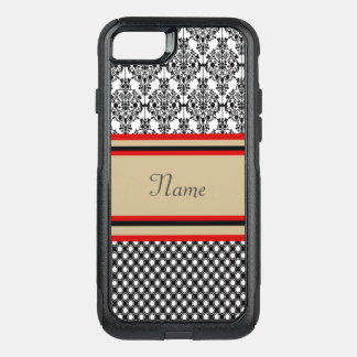Black Damask Monogram OtterBox Commuter iPhone 8/7 Case