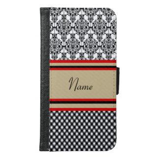 Black Damask Monogram Samsung Galaxy S6 Wallet Case