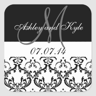 Black Damask Monogram Save the Date Stickers