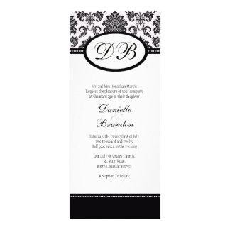 Black Damask Monogram Wedding Invitation