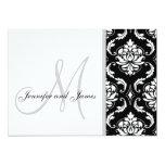Black Damask Monogram Wedding Invitations