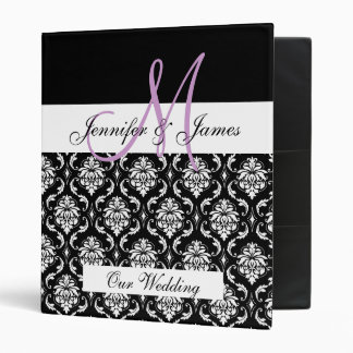 Black Damask Monogram Wedding Planner Binder
