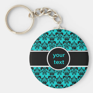 black damask on any color keychain
