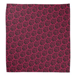 Black damask on burgundy red bandana