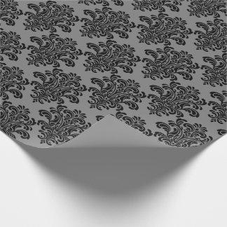 Black Damask on Gray Elegant Pattern Wrapping Paper