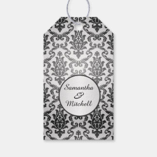 Black damask on silver gray Wedding Thank You Pack Of Gift Tags
