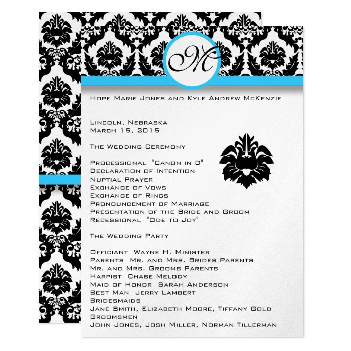 "Declaration Of Intent Wedding: Black Damask On White Aqua Trim Wedding Program 5"" X 7"