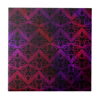 Black Damask over Purple and Red Tiles