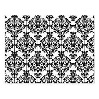 Black Damask Pattern 1 Vintage Floral Postcard