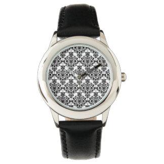 Black Damask Pattern 1 Vintage Floral Watches
