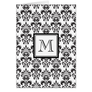 Black Damask Pattern 2 with Your Monogram Card