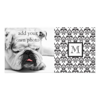 Black Damask Pattern 2 with Your Monogram Personalized Photo Card