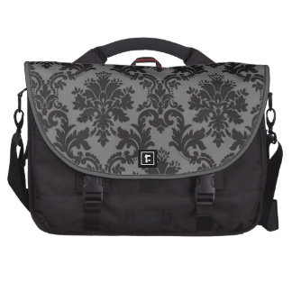 Black Damask pattern Commuter Bags