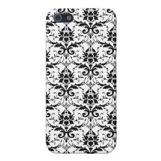 Black Damask Pattern iPhone 5 Cases