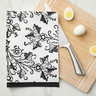 Black Damask Pattern on White Kitchen Towel