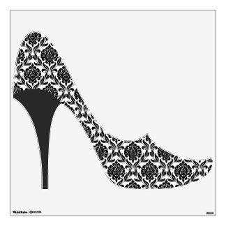 Black Damask Pattern Stiletto Heel Wall Sticker