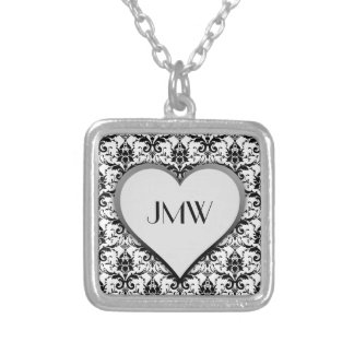 Black Damask Pattern with Heart Custom Monogram Silver Plated Necklace