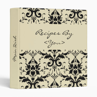 Black Damask Personalized Cook Book Recipe Binder