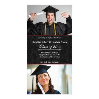 Black Damask Photo Graduation Card Photo Greeting Card