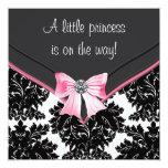 Black Damask Pink Bow Princess Baby Shower