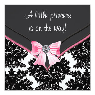 Black Damask Pink Bow Princess Baby Shower Personalized Invitations