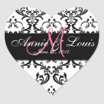 Black Damask Pink Initial Wedding Favour Heart Sticker