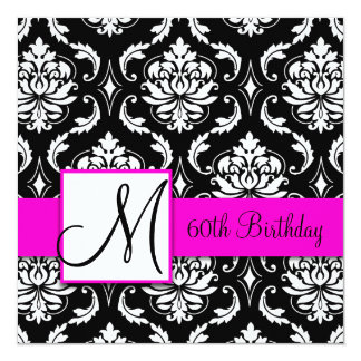 Black Damask Pink Monogram 60th Birthday Invite