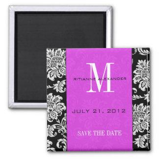 Black Damask Plum Monogram Save The Date Square Magnet