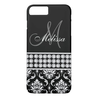 Black Damask Printed Diamonds Personalized iPhone 8 Plus/7 Plus Case
