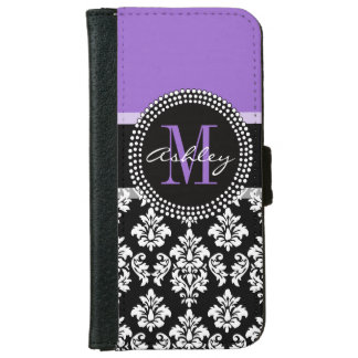 Black Damask Purple Monogram Pattern iPhone 6 Wallet Case