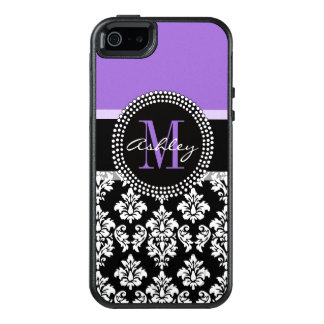 Black Damask Purple Monogram Pattern OtterBox iPhone 5/5s/SE Case