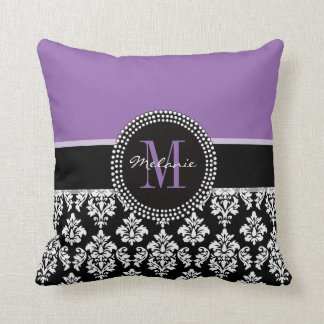 Black Damask Purple Monogram Personalized Pillow