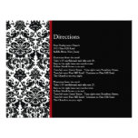 Black Damask Red Accent Direction Card Custom Invites