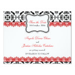 Black Damask & Red Lace Save the Date Custom Invitations