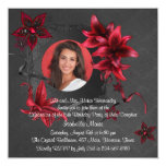 Black Damask Red Lilies Photo Quinceanera Personalized Invites