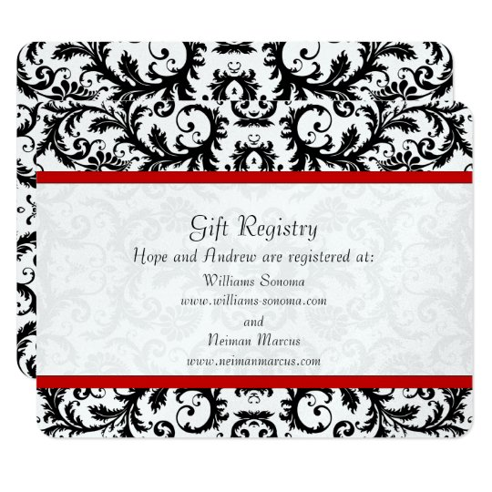 Black Damask Red Trim Gift Registry Wedding Card